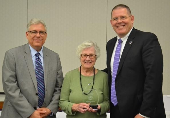 Barb Leamon, Brownsburg High School Registrar with Dr. Jim Snapp, Superintendent, and Andy McNeilly of CSO Architects