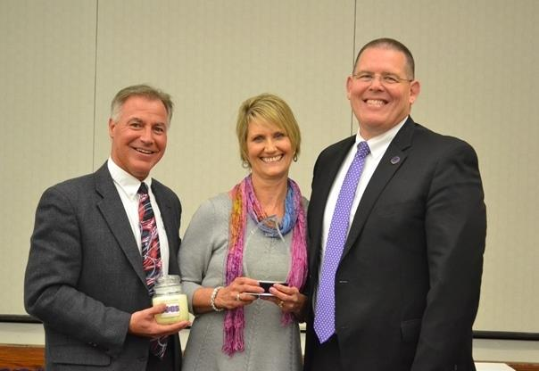 Kim Ramsey, Eagle Elementary School Teacher with Jim Boccia of Yankee Candle and Dr. Jim Snapp, Superintendent
