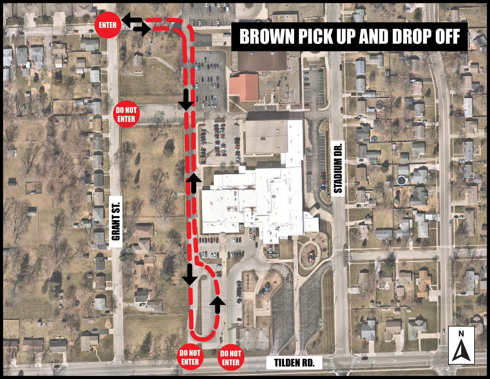 Brown pickup drop off map