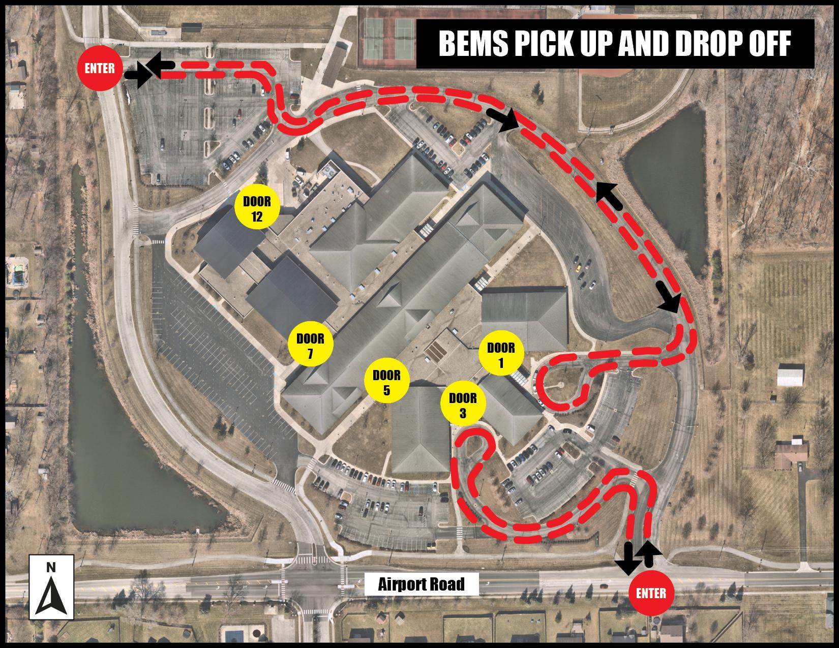 BEMS pickup drop off map